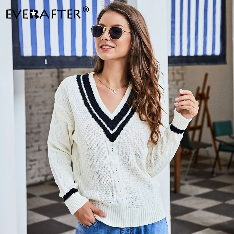 EVERAFTER V-neck pullover striped sweater women 2019 long sleeve knitted Autumn winter warm fashion streetwear tops