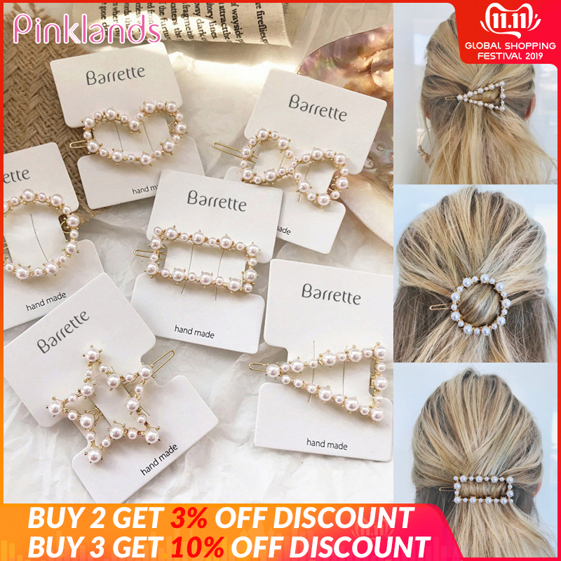 Fashion Crystal Pearl Hair Clip Metal Hairclip Elegant Barrette Bobby Hair Pins Wedding Girl Hair Clip Hair Barrette For Women
