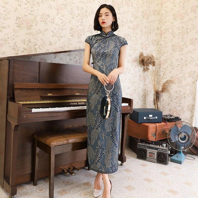Chinois traditionnel robe en soie Cheongsam Long bouton fait main Qipao Vestido Oriental robes de fête surdimensionné 4XL