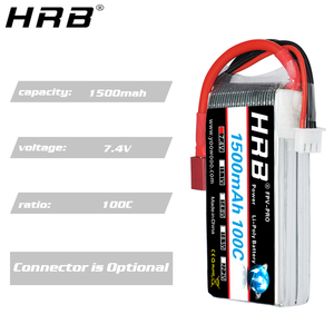 Image 4 - HRB 2S Lipo Batteria 1500mah 7.4V XT60 T Deans EC2 EC3 EC5 XT90 Femmina RC Parti di 100C per FPV Drone Aereo Da Corsa Auto Barca Camion