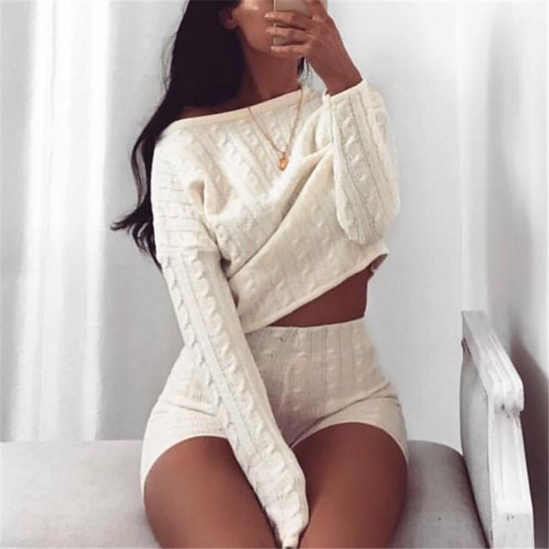 Soft Winter Wool Knitted Suits Dense Warm Sweater Suits O-Neck Pullover Tops Lady Loose Shorts Piece Set Female Knitwear Outfits