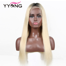 Yyong Hair Ombre 13x4 Lace Front Human Hair Wigs T1B/613 Wigs Natural Hairline With Baby Hair Straight Lace Front Wig Remy Hair стоимость