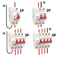 Tuya 1p/2p/3p/4p wifi interruptor inteligente 16a-125a sobrecarga interruptor automático trabalho de curto-circuito com alexa tuya app