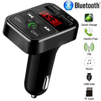 Car Bluetooth 5.0 FM Transmitter Wireless Handsfree Audio Receiver Auto MP3 Player 2.1A Dual USB Fast Charger Car Accessories image