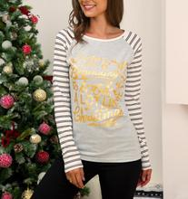 Christmas Women Striped T Shirt 2019 Autumn Winter Funny Graphic Cute Mom Long Sleeve Golden Print Top Tee For Ladies