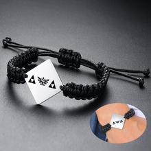 Personalisierte Coupels Seil Armband Adjsuatble Custom Edelstahl Legend Zelda Triforce Armband Für Männer Frauen Kostenlose Gravur
