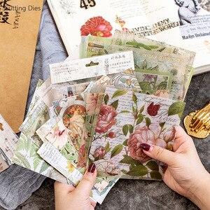 15 листов/партия, винтажная Цветочная бархатная самоклеющаяся бумага, Фоновые наклейки для скрапбукинга, DIY декоративные бумажные для поделок