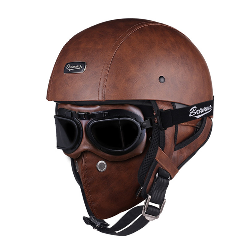 Rétro crâne moto rcycle casque Vintage PU cuir demi casque électrique moto rbike scooter casque moto casco avec lunettes et masque