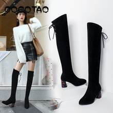 Over The Knee Boots Martin Boots Female Autumn 2019 New British Wind High Tube Elastic Boots Thick With Net Red Thin Boots Tide(China)