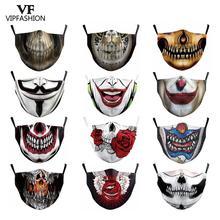 Máscara protectora reutilizable a prueba de polvo a prueba de bacterias a prueba de gripe máscara de media cara esqueleto fantasma VIP FASHION divertido estampado Pattem