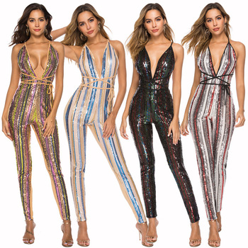Spring Women Sexy V-Neck Halter Jumpsuit Colorful Striped Sequins Backless Bodycon Jumpsuit Sexy Club Night Jumpsuit Clothes фото