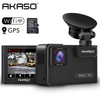 AKASO Full HD 1080P Dual Lens Car Dash Camera 2K Wifi Dash Cam with Phone App GPS Dual Video Recorder Car DVR Included 32GB Card