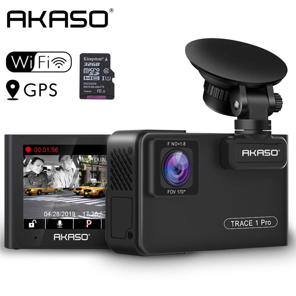 Автомобильный видеорегистратор AKASO Full HD 1080P с двойным объективом 2K Wi Fi с приложением для телефона gps двойной видео цифровой видеорегистратор для автомобиля в комплекте 32 Гб карта