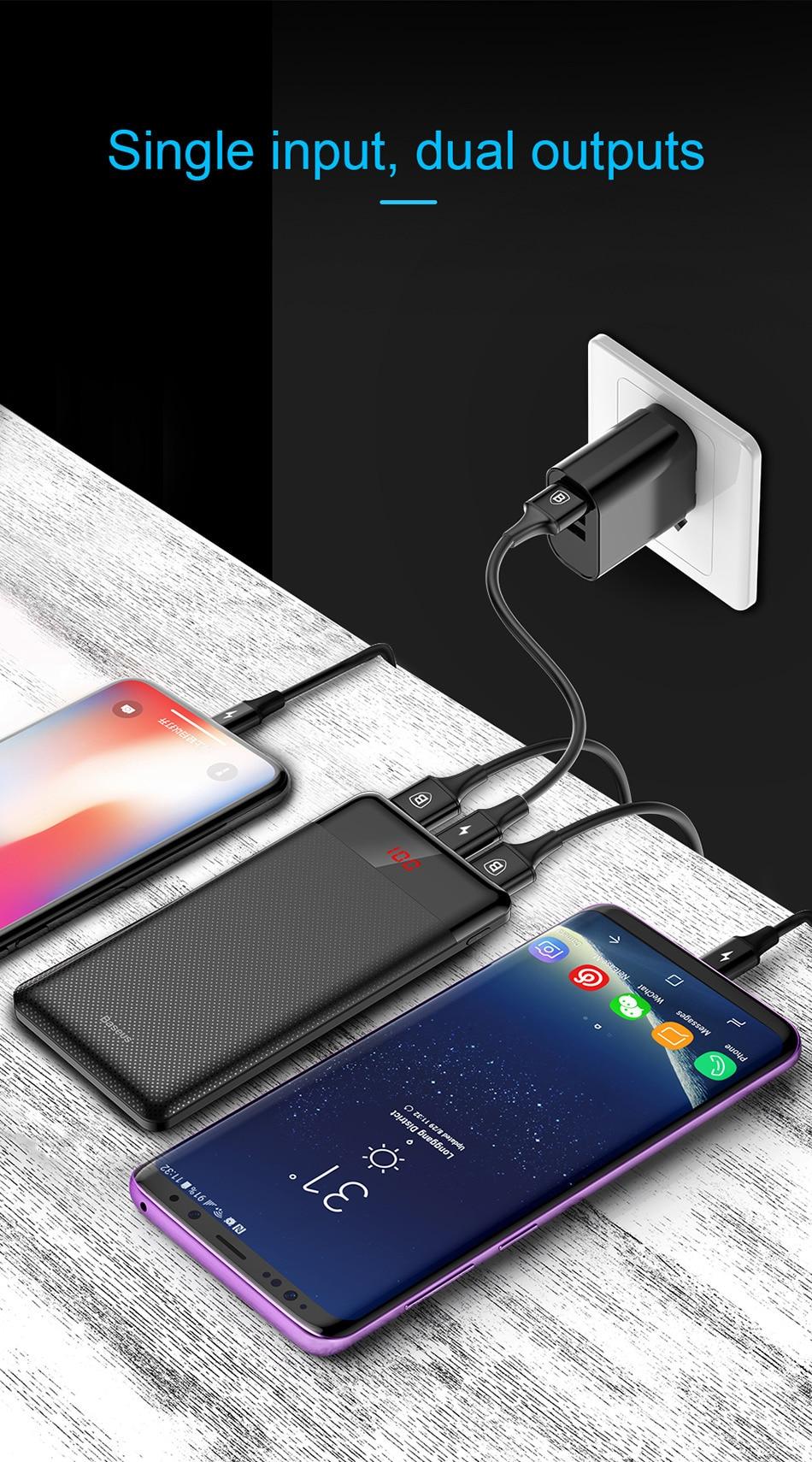 Baseus 10000 мАч Мощность/ч, тонкое USB Мощность банк 10000 мАч повербанк Портативный телефона с двумя USB выходами Батарея Зарядное устройство для Xiaomi Mi 3 iPhone