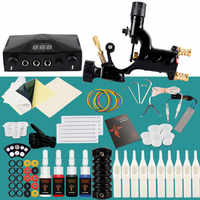 Kit de Machine à tatouer 1 alimentation de mitrailleuse rotative 4 couleurs encres aiguilles pigmentaires accessoires de tatouage pour ensemble de tatouage terminé