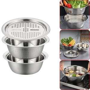 Slicer Kitchen-Tool 3 Strainer-Rice Pot Grater Drain-Basket-Sieve Vegetable-Cutter WASHING-FILTER