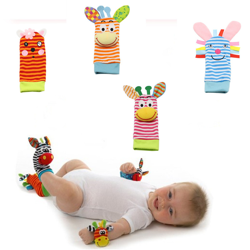 Baby Socks Infant Baby Kids Socks Cartoon Animal Rattle Toys Wrist Rattle And Foot Socks 0~24 Months Exquisite And Fun Toys