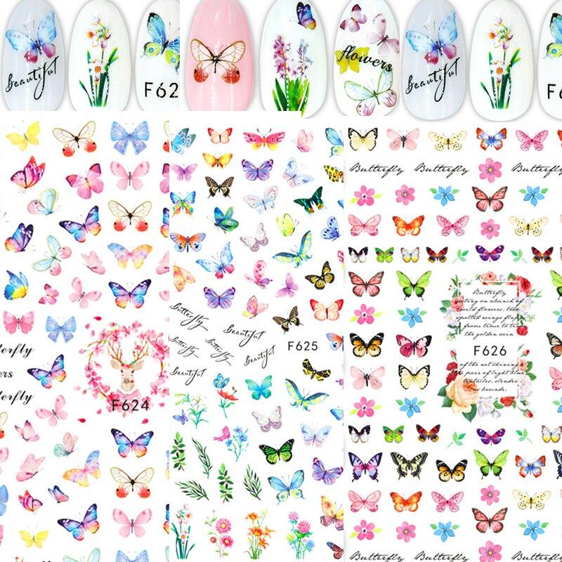 2021, переводятся с помощью воды Наклейка и стикеры бабочки Цвет полусапожки на весну с цветочным узором Сделай Сам ногти наклейки для ногтей ...