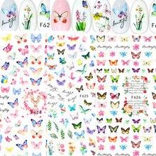 2021 água prego decalque e adesivo borboleta cor simples primavera flor diy unhas para adesivos arte do prego marca dwaterágua manicure decoração