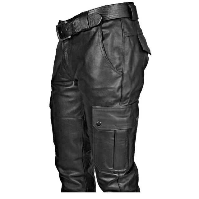 KANCOOLD Faux Leather Pants Punk Retro Pencil Casual men's pants Goth Mid Slim Broadcloth Full Length Pants Trousers D23 4