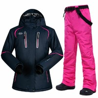 Winter Ski Suit Women Brands Ski Jacket and Pant Super Warm High Quality Windproof Waterproof Warm Skiing and Snowboard Clothing