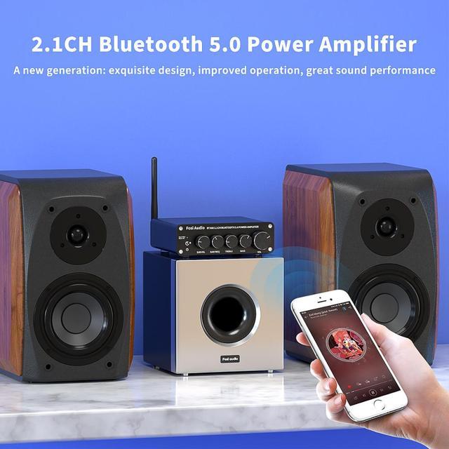 Channel Bass & Treble Control Amp Audio Subwoofer 100W + 50W x2 4