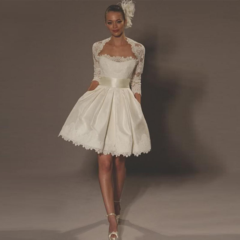 2015 Vintage Hot Sale Sexy A-Line Lace Bolero Jacket Knee Length 3/4 Long Sleeve Short Wedding Dresses