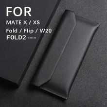 Pochette portefeuille en cuir véritable pour Galaxy Z Fold 2 W20 F9000 housse en peau de vache à rabat pour iphone 12 Pro Max 11 Mate Xs X Note 20 Ultra