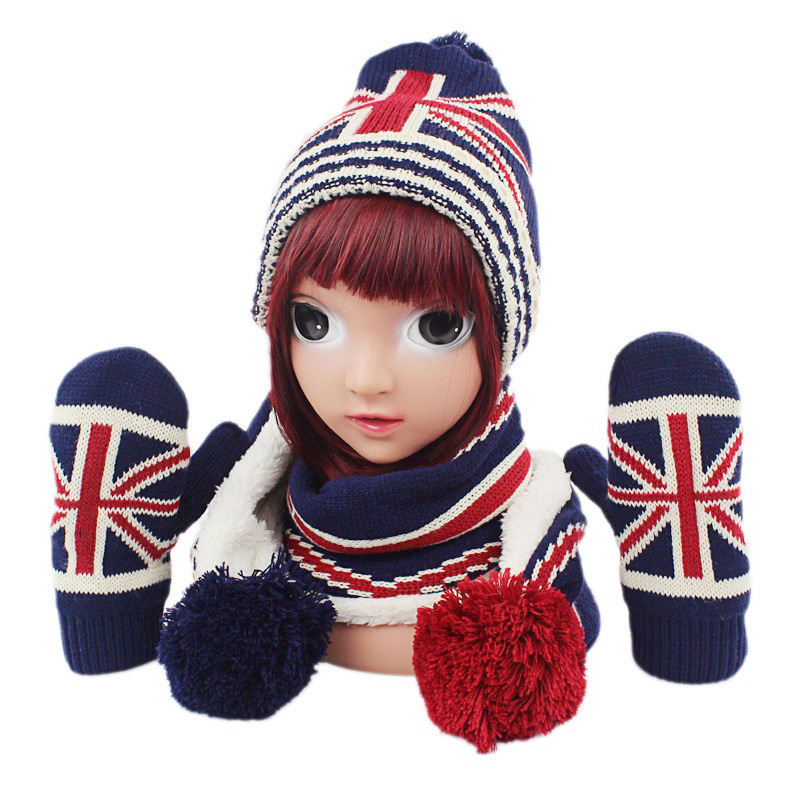 3Pcs Baby American Flag Set Children Kids Hat Scarf And Gloves Set Knitting Warm Autumn Winter Newborn Cap Accessory 1-6Year New
