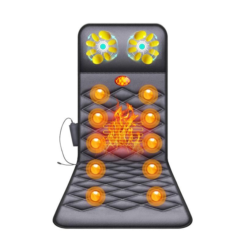Electric Heating Vibrating Back Massage Mattress Cervical Massager Neck Waist Shoulder Body Back Vibration Kneading Cushion
