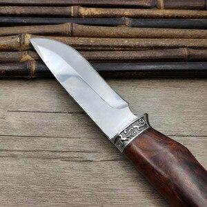 Image 2 - Нож с фиксированным лезвием из нержавеющей стали 440C, ручка венге, EDC, затачивающий охотничий нож, нож для выживания на открытом воздухе, рога, с рисунком кабана