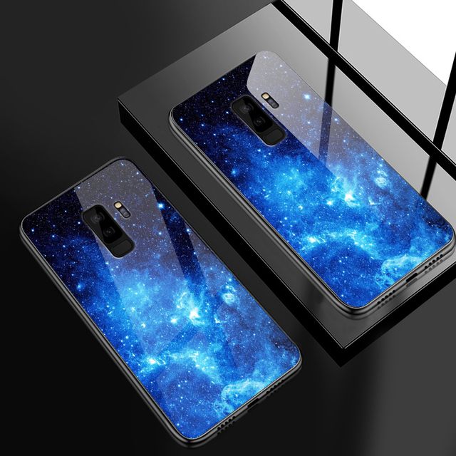 for Samsung Galaxy S8 S9 S10 Plus Tempered Glass Cover for OnePlus 3 3T 5 5T 6 6T 7 7 Pro Fashion Colorful Shockproof Phone Case