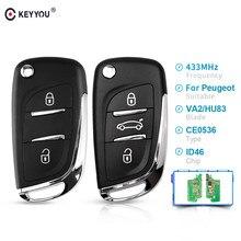 KEYYOU 433MHz ASK/FSK zmodyfikowana klapka zdalny klucz samochodowy dla Peugeot 107 207 307 307S 308 407 607 CE0536 VA2/HU83 PCF7961 2/3 BTN klucz