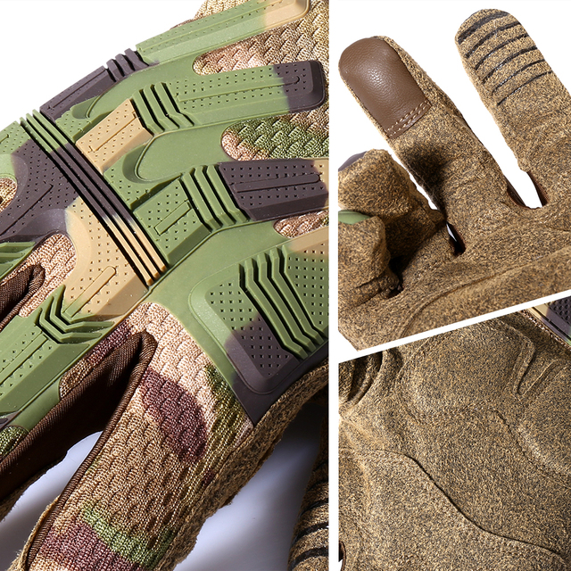 Tactical Army Full Finger Gloves Touch Screen Military Paintball Airsoft Combat Rubber Protective Glove Anti-skid Men Women New 5