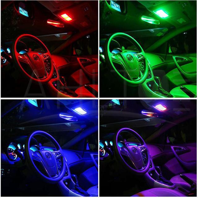 2X T10 5050 12SMD 15SMD 24SMD 36SMD Remote Control RGB Car Leds Panel Interior Auto Light Reading Dome Festoon BA9S Adapter 12V