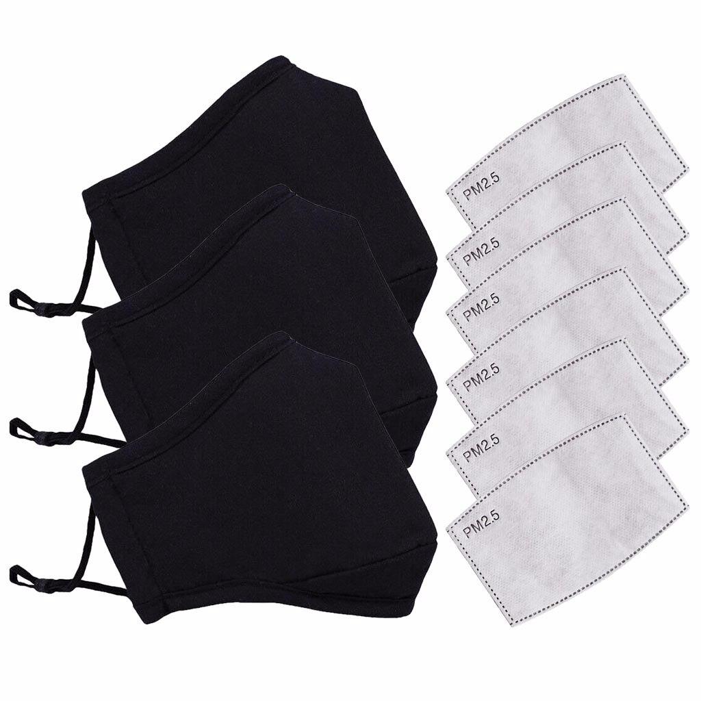 3 pçs algodão máscara preta boca máscara anti pm2.5 poeira boca máscara de filtro de carvão ativado máscara de tecido máscara facial lavável
