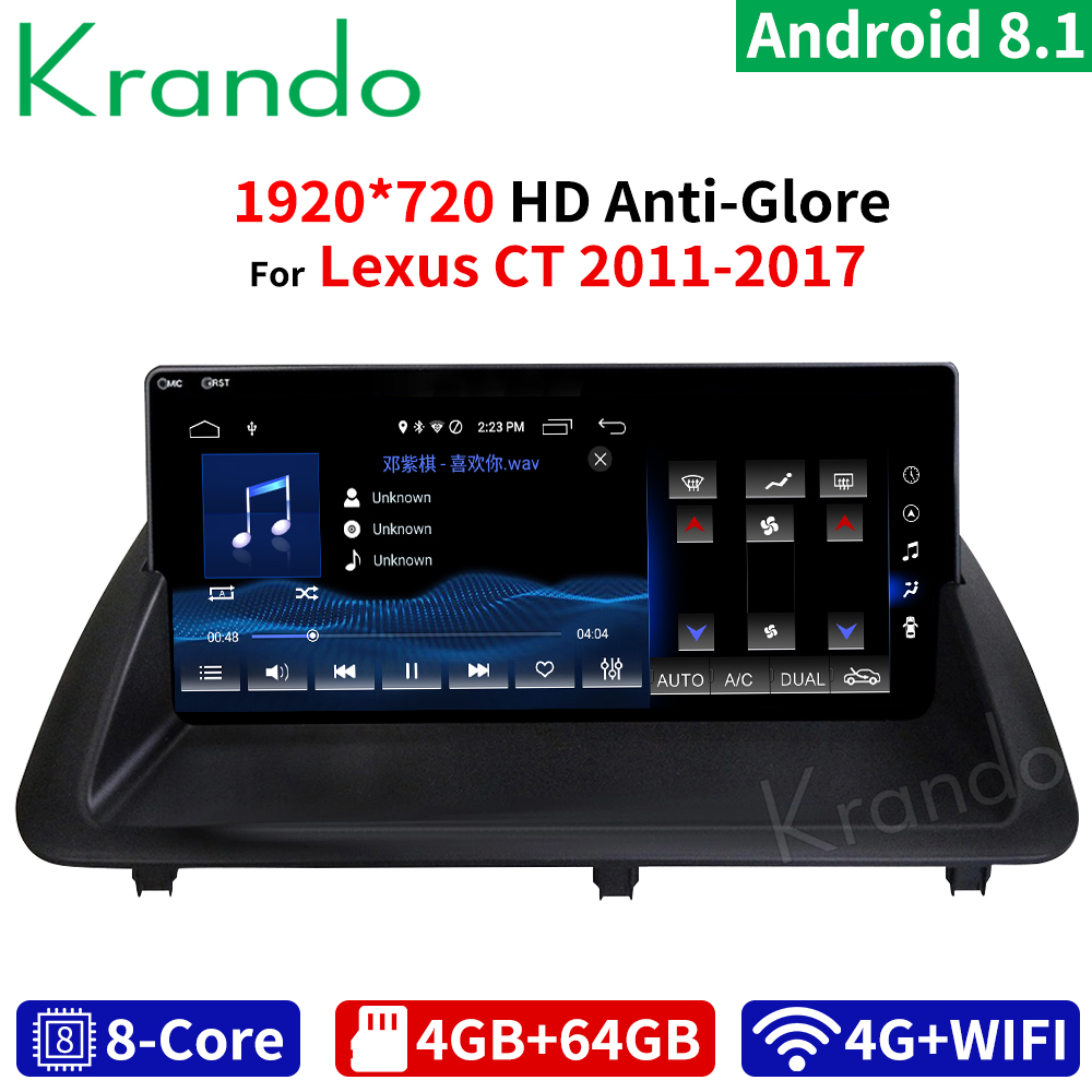 krando 10.25 inch <font><b>Android</b></font> 8.1 8 Core 4+64G Car radio audio GPS Multimedia Player for <font><b>Lexus</b></font> CT 2011 <font><b>2012</b></font> 2013 2014 2015 2016 2017 image