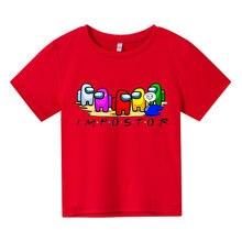 Novo jogo kawaii entre os eua t camisa crianças 2021 engraçado verão dos desenhos animados 4-14 camiseta para meninas meninos do miúdo roupas unisex manga curta