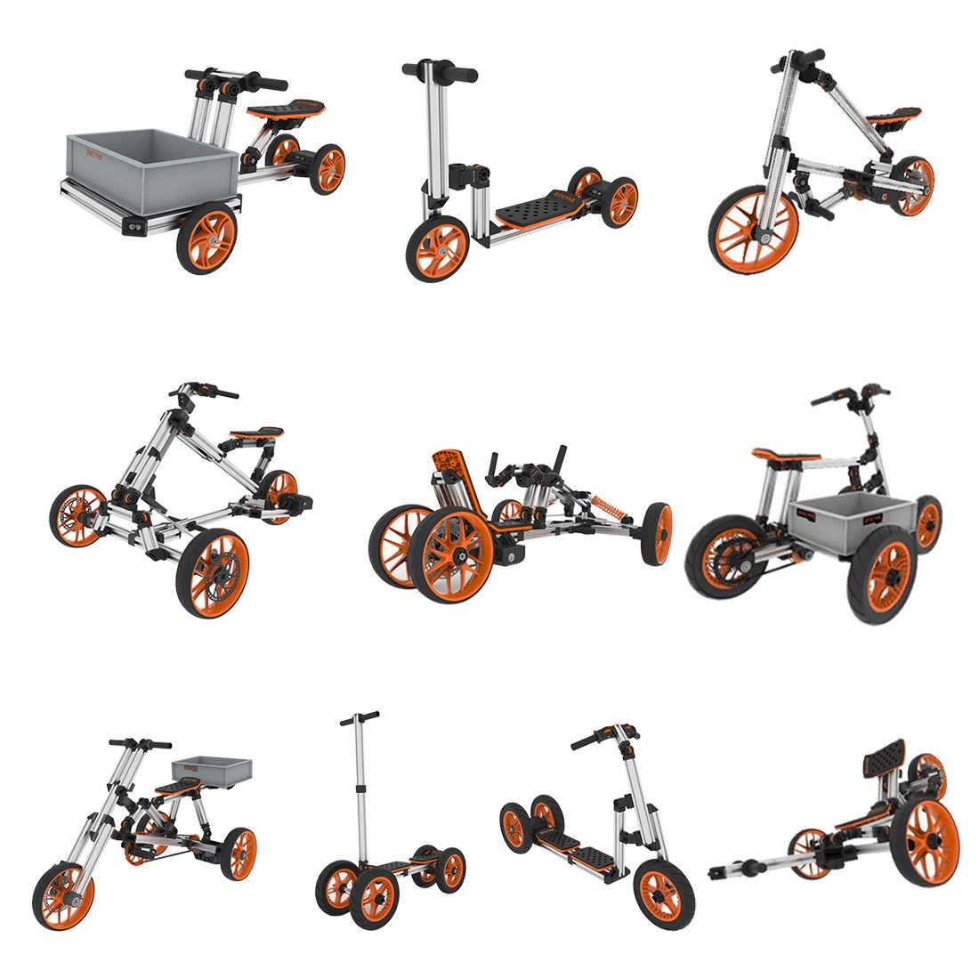 Docyke yaratıcı sürmek 10-In-1 yarış takımı elektrikli go kart Trike bisiklet, çok modlu çerçeve Diy montaj oyuncaklar-abd İngiltere ab tak