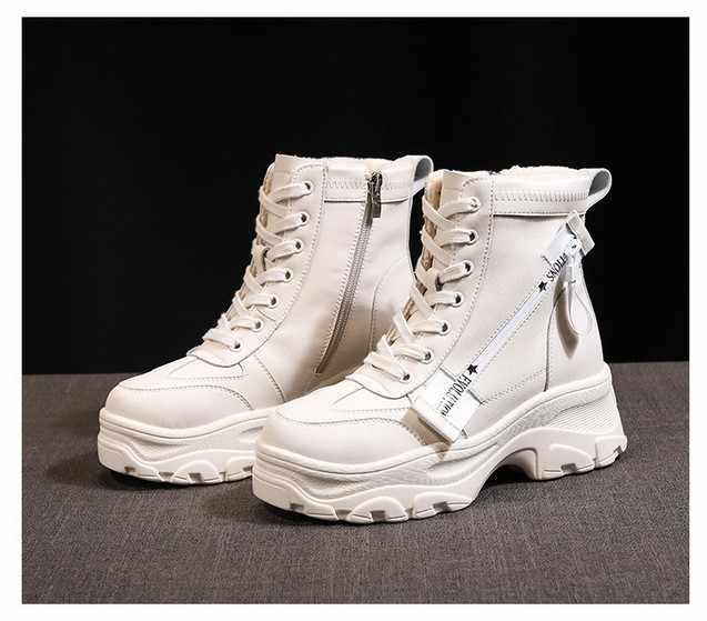 Tăng Ngắn Giày Nữ Giày Nữ Giày Hiệp Sĩ Giày Gót Dày Nền Tảng Mùa Đông Giày