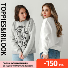 Harajuku Hoodies Pullovers Sweatshirts Women Spring Abstract Toppies Embroidered Casual