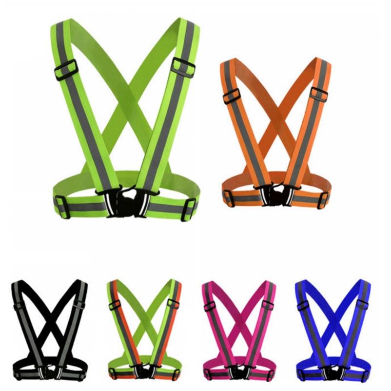 Светоотражающие ремни для ночного бега, одежда для езды, жилет, Регулируемый защитный жилет, эластичная лента для взрослых и детей