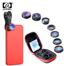 цена на APEXEL 7 in 1 Phone Lens Kit Fisheye + Super Wide Angle + Macro Lens + 2X Zoom Lens + Kaleidoscope And CPL Filter For Smartphone