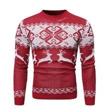 Men's Sweater Winter Pullover Snowflake Animal Pri