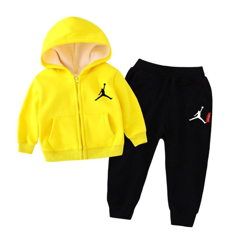 Nike Air Jordan Kids Sports Sets Hoodies Children Cotton Soft Running Pants Infant Outfit 2pcs/set