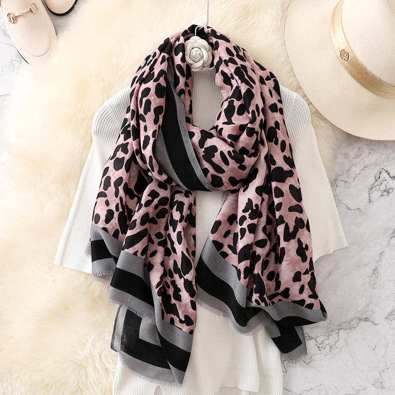 Luxury brand women leopard print cotton   scarf   shawls for winter foulard femme long soft warm   wraps   cachecol