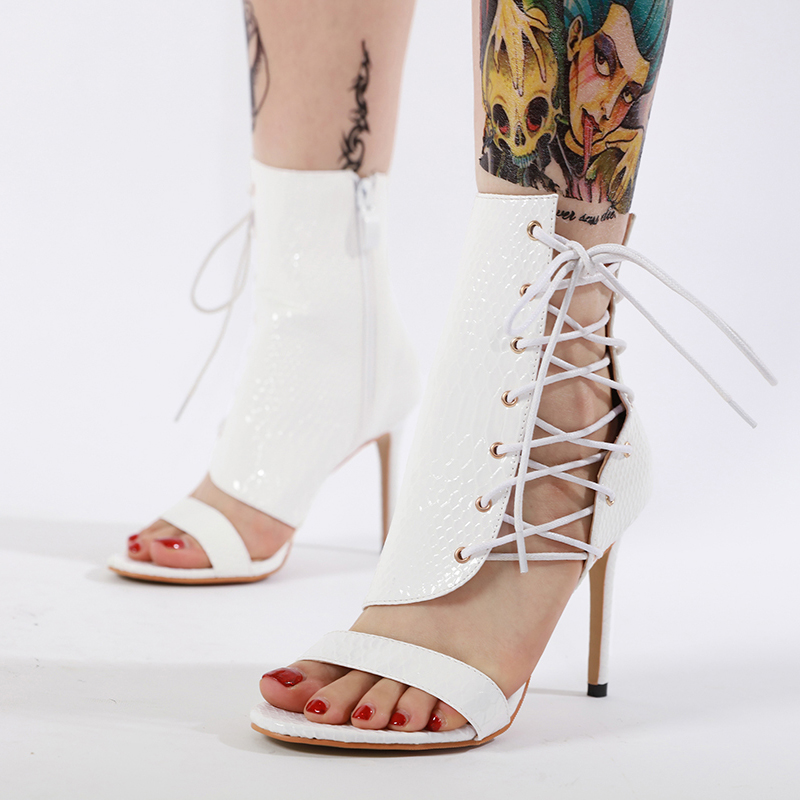 Women's Gladiator Boots Sandals Open Toe Cross Tied Lace Up Side Zipper Ankle Boots Stiletto High Heels Sandals Short Botas