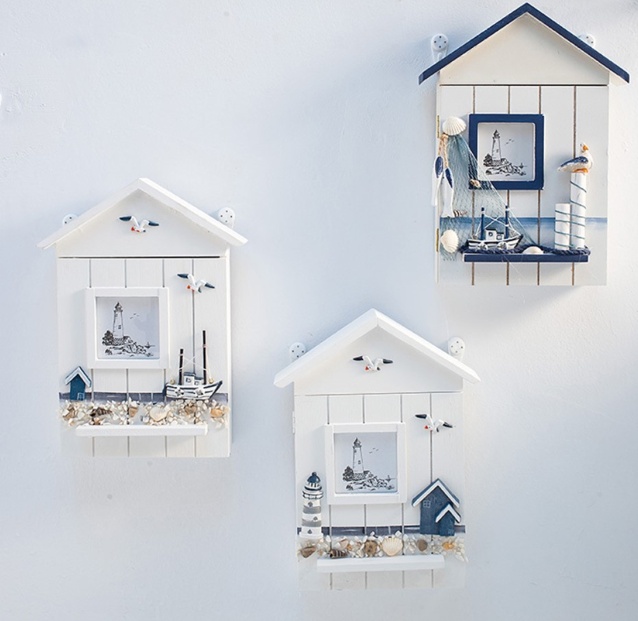 Creative decoration in the sea solid wood key box key box cabinet wall hanging <font><b>seabird</b></font> sea tower key House storage box image