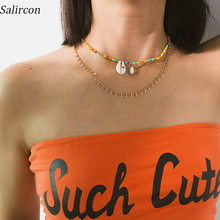 SalirCon Bohemian Fashion Temperament Colorful Rice Beads  Drop Necklace Natural Imitation Pearl Shell Alloy Chain Gift