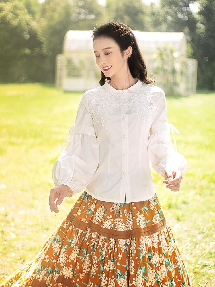 Livraison Gratuite 2019 Nouvelle Mode Boshow Printemps Et Automne Blanc 100% Coton Manches Lanterne à manches longues décontracté Femmes Chemisier